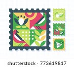 ornamental set of color postage ... | Shutterstock .eps vector #773619817