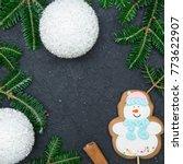 a festive frame of spruce...   Shutterstock . vector #773622907