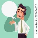 happy smiling call center...   Shutterstock .eps vector #773626513