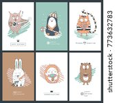 template collection cards with... | Shutterstock .eps vector #773632783