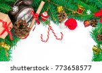 christmas greeting on a white... | Shutterstock . vector #773658577