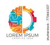 brain and gear cog logo design. ... | Shutterstock .eps vector #773661337
