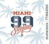 miami beach florida tee print... | Shutterstock .eps vector #773662063