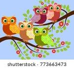 bright cute cartoon owls sit on ...   Shutterstock .eps vector #773663473