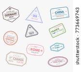 passport visa rubber stamps....   Shutterstock .eps vector #773669743