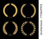 set of four golden laurel... | Shutterstock .eps vector #773669953