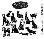 Stock vector vector funny dog icon set terrier shepherd labrador bulldog pug husky poodle doberman 773689093