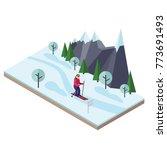 isometric woman skiing. cross... | Shutterstock .eps vector #773691493