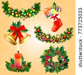 set of christmas decorations... | Shutterstock .eps vector #773725033