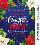 christmas party poster design.... | Shutterstock .eps vector #773734033