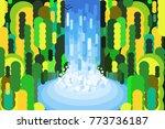 jungle waterfall illustration...   Shutterstock .eps vector #773736187