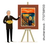 painter painting a... | Shutterstock .eps vector #773758933
