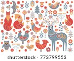 cute animals and birds in a... | Shutterstock .eps vector #773799553