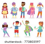 superhero kids vector super... | Shutterstock .eps vector #773803597