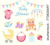 cartoon baby shower concept on... | Shutterstock .eps vector #773820697