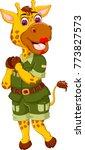 beauty giraffe cartoon posing... | Shutterstock .eps vector #773827573
