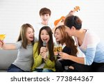 young woman holding microphone... | Shutterstock . vector #773844367