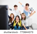 young group watching sports on... | Shutterstock . vector #773844373