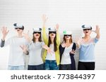 young group having fun with new ... | Shutterstock . vector #773844397