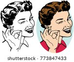 a woman winking and making an... | Shutterstock .eps vector #773847433