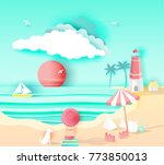 beach landscape with  happy... | Shutterstock .eps vector #773850013