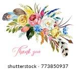 watercolor floral boho bouquet  ...   Shutterstock . vector #773850937