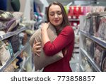 customer woman chooses bed... | Shutterstock . vector #773858857