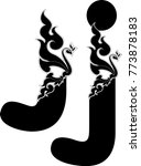 swirl doodle alphabet letter j...   Shutterstock .eps vector #773878183