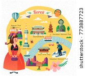 korea travel illustration ... | Shutterstock .eps vector #773887723