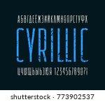 narrow sans serif font.... | Shutterstock .eps vector #773902537