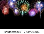 colorful fireworks on black...   Shutterstock . vector #773903203