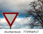 Small photo of Traffic sign which means that you have to give way