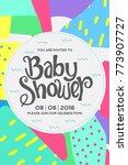 baby shower invitation card. | Shutterstock .eps vector #773907727