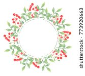 wreath with leaves and branch... | Shutterstock . vector #773920663