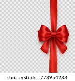 bow and red satin ribbon... | Shutterstock .eps vector #773954233