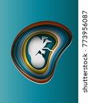 embryo in the womb. paper art...   Shutterstock .eps vector #773956087