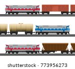 powerful modern trains with... | Shutterstock .eps vector #773956273