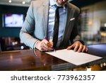 mature businessman at hotel... | Shutterstock . vector #773962357