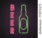 beer bottle glass neon light... | Shutterstock .eps vector #773972173