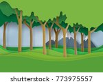 green nature forest landscape...   Shutterstock .eps vector #773975557