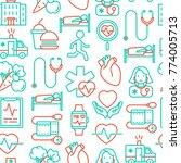 cardiology seamless pattern... | Shutterstock .eps vector #774005713