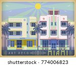 sunny day in miami  usa.... | Shutterstock .eps vector #774006823