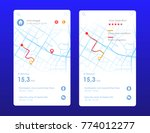 vector city map with route and... | Shutterstock .eps vector #774012277