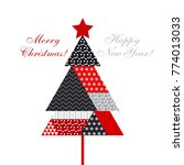 christmas tree in patchwork... | Shutterstock .eps vector #774013033
