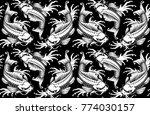 koi carp seamless pattern ... | Shutterstock .eps vector #774030157
