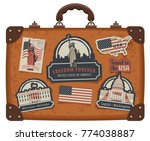 vector image of travel suitcase ... | Shutterstock .eps vector #774038887