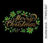 """merry christmas"" golden...   Shutterstock .eps vector #774051367"