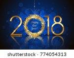 vector happy new year 2018... | Shutterstock .eps vector #774054313