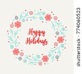 christmas wreath with... | Shutterstock .eps vector #774060523