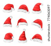 set of red santa claus hats.... | Shutterstock .eps vector #774063097